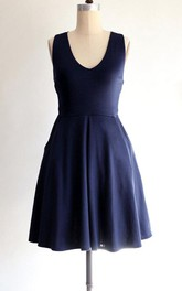 A-line Short Dress With Pockets and Cross Back Straps
