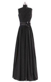 One-shoulder A-line Pleated Chiffon Gown With Belt
