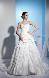 Sweetheart Criss-Cross A-Line Gown with Beading and Floral Waist