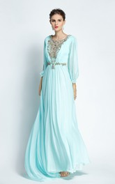 A-Line Bateau Puff Balloon Long Sleeve Floor-length Chiffon Prom Dress with Beading and Deep-V Back