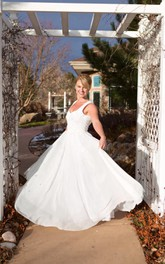 V-Neck Long A-Line Chiffon Wedding Dress With Heart Back