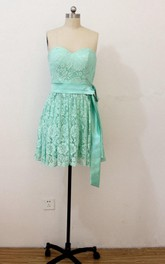 Mini Sleeveless Lace Dress With Satin Belt