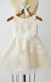 Sleeveless Jewel Ivory Lace Champagne Tulle Flower Girl Dress