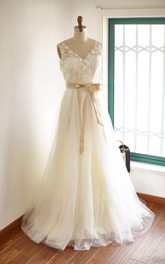 Lace Tulle Wedding Bridal Gown With Champagne Lining Dress