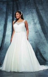 A-Line Long Bateau Neck Sleeveless Tulle Court Train Illusion  Dress