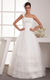 One-Shoulder Tulle A-Line Dress with Ruching and Single Strap