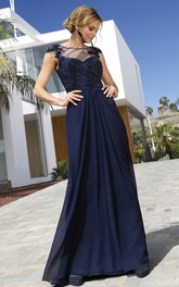 Modest Chiffon Bateau Sheath Short Sleeve Formal Dress with Beading Ruching and Zipper Back