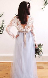 Deep-V Back Illusion Long Sleeve Appliqued Tulle Dress