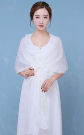 Spring and Summer Fashion New Lace Chiffon Thin Section Bowknot Shawl