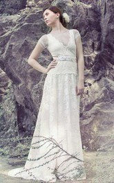 Boho Illusion V-Neck Lace Floor-Length Wedding Dress With Sweep Train