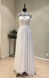Elegant Garden Style Chiffon Sheath High-neck Sleeveless Wedding Dress