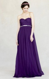 Empire Sweetheart Sleeveless Criss-Cross Chiffon Bridesmaid Dress