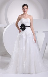 Sweetheart Tulle A-Line Gown with Appliques and Beaded Bow