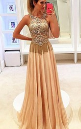 Newest Beadings Chiffon Illusion 2018 Prom Dress A-line Sweep Train