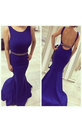 High Quality Mermaid Beadings 2018 Evening Dress Open Back Sweep Train