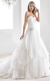 A-Line Chiffon Wedding Gown With Illusive Neckline And Beading