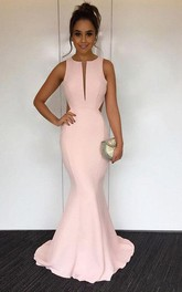 Mermaid Round Neck Sweep Train Open Back Prom Dress