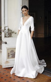 Satin Plunging V-neck Sexy Elegant Bridal Gown With 3/4 Sleeves And Court Train