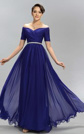 Off The Shoulder V Neck A-line Long Chiffon Dress With Belt