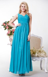 Graceful V-neck Chiffon Gown With Squared Back