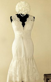 Scalloped Sleeveless Button Back Mermaid Lace Wedding Dress With Sash And Flower