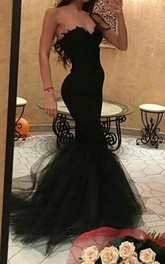 Sexy Black Sweetheart Mermaid Prom Dress 2018 With Ruffles