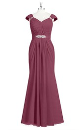 Cap-Sleeved Ruched Long Chiffon Dress With Crystal Detailing