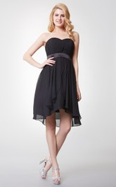 Sleeveless Pleated High-low Chiffon Dress With Backless