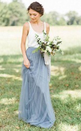 Sleeveless A-line Long Tulle Gown with Pleats and Scoop Neck