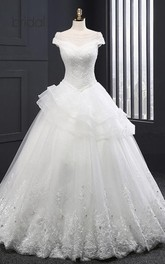 Bateau Neck Short Sleeve A-line Wedding Dress With Beading And Tiers