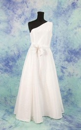 One Shoulder Taffeta Wedding Dress With Bow