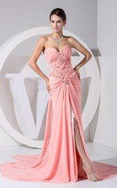 Ruched Sweetheart A-Line Front-Split Dress with Beadings and Court Train