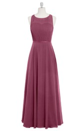 Sleeveless Long Chiffon A-Line Dress With Pleated Bodice and Jewel Neckline