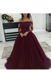 Ball Gown Off-the-shoulder Illusion Long Sleeve Tulle Dress