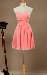 A-line Short Knee-length Strapped Chiffon&Satin Dress