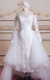 Mini Long Sleeve Tulle Lace Satin Weddig Dress