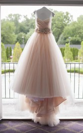Sweetheart Strapless Flowers Beading Wedding Dress With Court Train