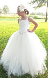 One Strap Pleated Lace Tulle Pageant Flower Girl Dress