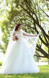 Bateau Neck Tulle Wedding Dress With Spangles and Sequins