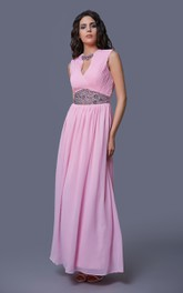 Sleeveless Long Chiffon Dress With Crystal Detailing and Ruching