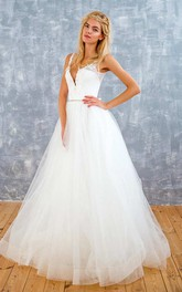 Tulle Sequins Satin Beaded Lace Lace-Up Corset Back Wedding Dress