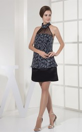 Sleeveless Mini A-Line Dress with Sequins and Collar Neckline