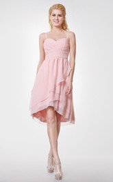 Sweetheart High Low Chiffon Bridesmaid Dress with Spaghetti Straps