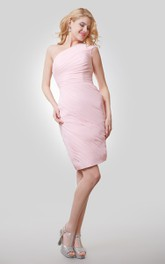 One-Shoulder Sheath Short Dress With Asymmetrical Ruching