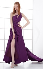one-shoulder front-split chiffon dress with epaulet and keyhole