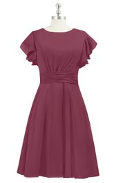 Chiffon A-Line Knee Length Dress With Bateau Neck and Cinched Waistband