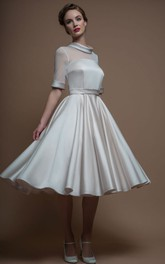 A-Line Tea-Length High Neck Sleeveless Satin Wedding Dress With Illusion
