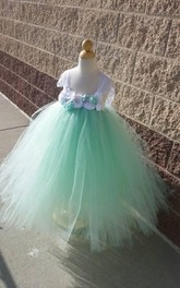Beautiful Mint Sleeveless Empire Tulle Tutu Dress With Vintage Flowers