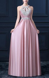 Sleeveless A-line Long Dress with Keyholes and Pleats