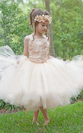 Satin Strapped Tulle Dress With Flower Bodice